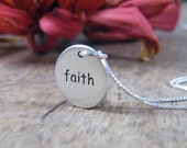 faith sterling silver word pendant necklace matt finish - PureRoxFaith