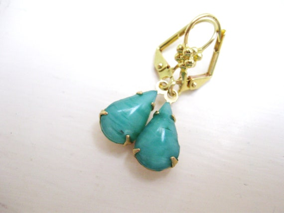 Jade Earrings - Jade  in Brass  - Estate Jewelry