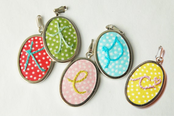 Personalized Embroidered Initial PENDANT - NO CHAIN. On Printed Polka Dot Fabric, Five Color Options.  by merriweathercouncil on Etsy.