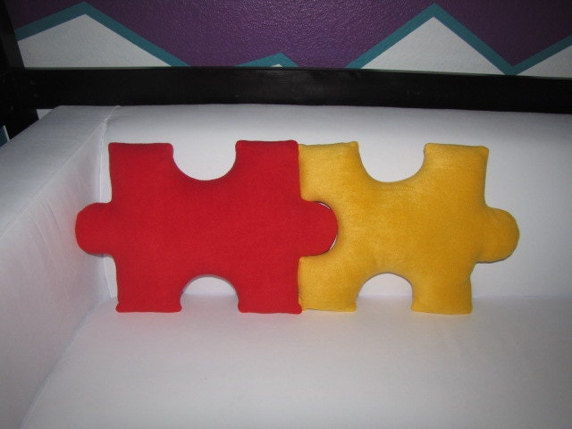 Puzzle Piece Pillows Pick 2 and Save by freakyfleece on Etsy