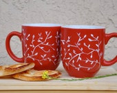 Set of Two White on Red Coffee Mugs - Hand Painted Ceramic - made to order - PictureInADream