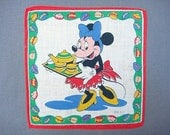 DISNEY HANKIE, Minnie Mouse Serving Tea, Children, Copyrt. Mark, Rare, Red Apron, Blue Bow, Yellow Shoes, Tea Cup Border, Fab Condition - CUSHgoods