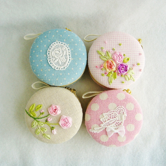 linen Jewellery Box/macaroon /silk ribbon embroidery-rose-macaron coin purse/wedding gift/wedding favor