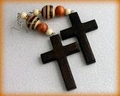 Fabulous Brown Wood beaded Cross Statement Earrings
