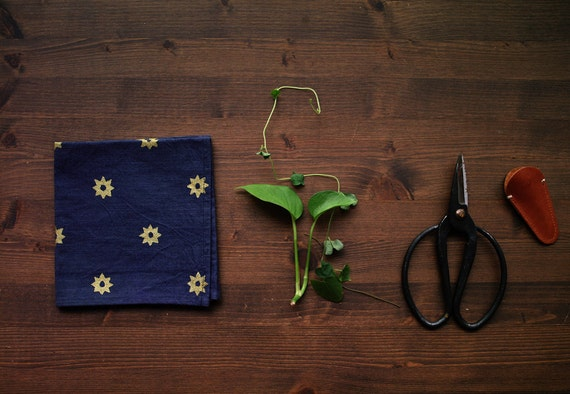 "Gold ""Etoile"" Napkin - Star pattern Hand-printed on Indigo & Cochineal Natural Dyed Cotton Fabric"