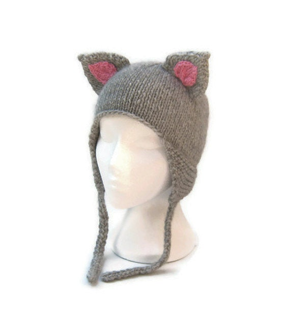 Knitted Animal Hat Patterns : Cat ear hat knit ear flaps animal hat with ears pale by jarg0n Craftjuice H...