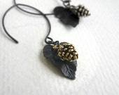 Long Drop Earrings - Pine Cone and Leaf - Fall Fashion - Woodland Jewelry - Simplicity - 3pearls