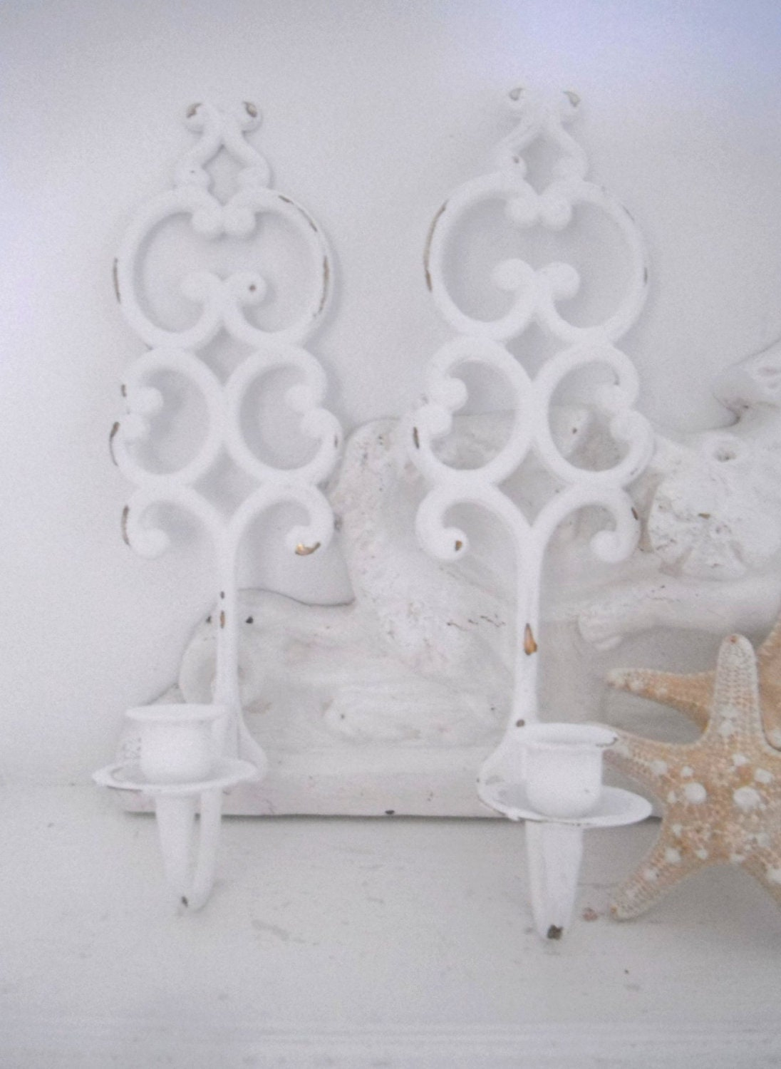 candle wall sconces shabby chic wall decor brass by ShabbyRoad