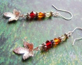 Autumn Handmade Sterling Silver Earrings Swarovski Crystals Fall Cololrs Leaf Charm - Lilacmoonjewelry
