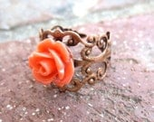 Coral Rose Antique Bronze Filigree Ring