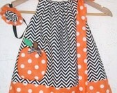 Funky Pumpkin Dress and Matching Hairband - RebeccaWargBoutique