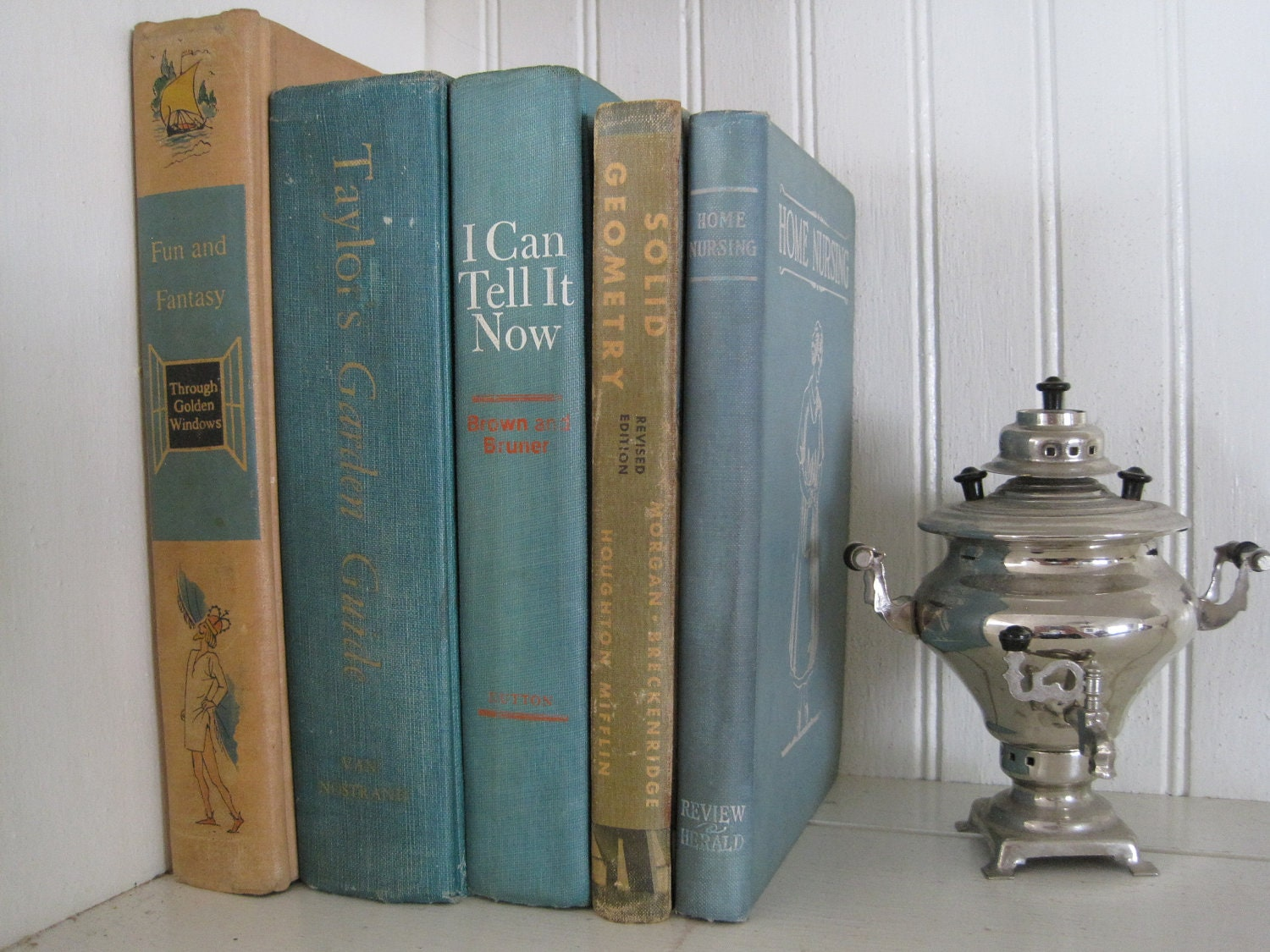 5 Vintage Aqua Blue Teal Turquoise Books Home Decor by thefarmroad