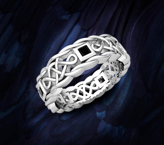 Celtic Knot Mens Wedding Ring in 14k White Gold Princess Cut Black Diamonds - Save Extra 20%, Use Code: LOVE20