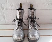 Silver Leather Boots Burningman Costume 80s Vintage Dr Martens Made in England Steel Toe Docs 10 Hole Lace Punk Grunge Glam Rave Playa Boots - KingArtsAndVintage