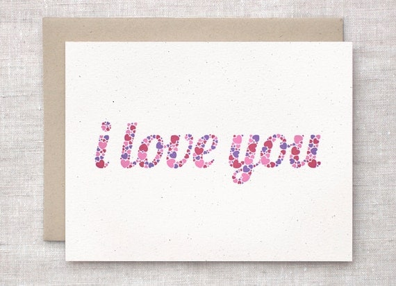 Valentine's Day Card, I Love You Card, Anniversary Card - Typography, Hearts