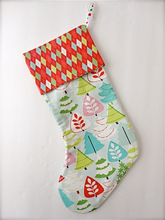 Modern Christmas Stocking - Tinsel by Maude Asbury