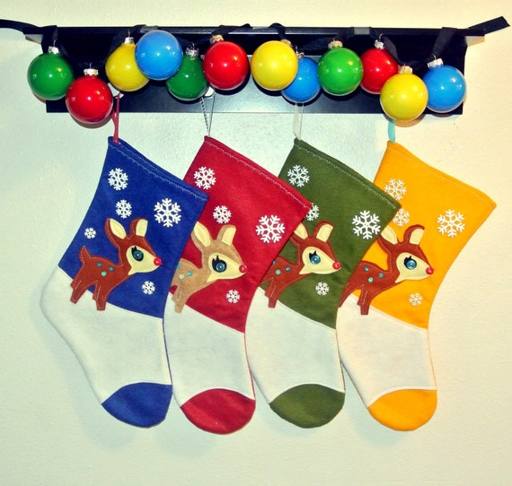 Retro Rudolph Christmas Stockings -- Set of 4 in Red, Olive Green, Yellow, and Sapphire Blue