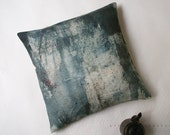 Linen Squart Throw Pillow. Blue ..  Allusion blue woods /  FRAGMENTS - AffairesNomades