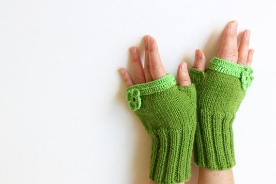 Fingerless Gloves / Hand knit with a soft green acrylic yarn / Winter Trends 2012 Collection. EtsyXO. St. Patricks Day. Winter fashion.