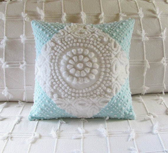 Cushion cover WHITE TARGET chenille pillow cover 14 X 14  white chenille aqua pillow