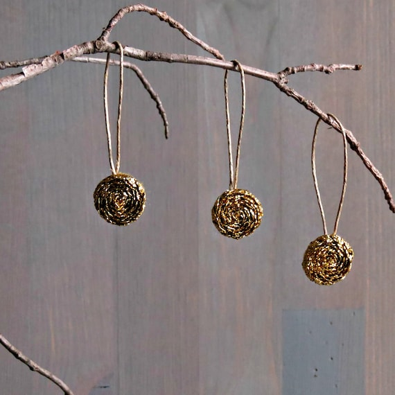 Metallic Gold Ornament Set . Set of 3 . Country Christmas. Free Shipping . Holiday Decor