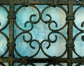 "MOROCCAN wrought  - iron gate - blue faded wall - moroccan art - photo print - 5 x 7 "" - HEARTtoHEARTart"