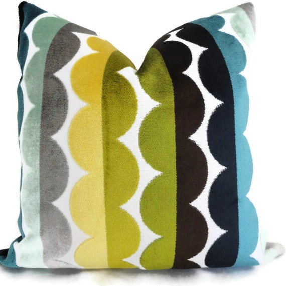 Jonathan Adler Multicolor Semi Circle Velvet Decorative Pillow Cover, Accent Pillow, Throw Pillow, Pillowcase