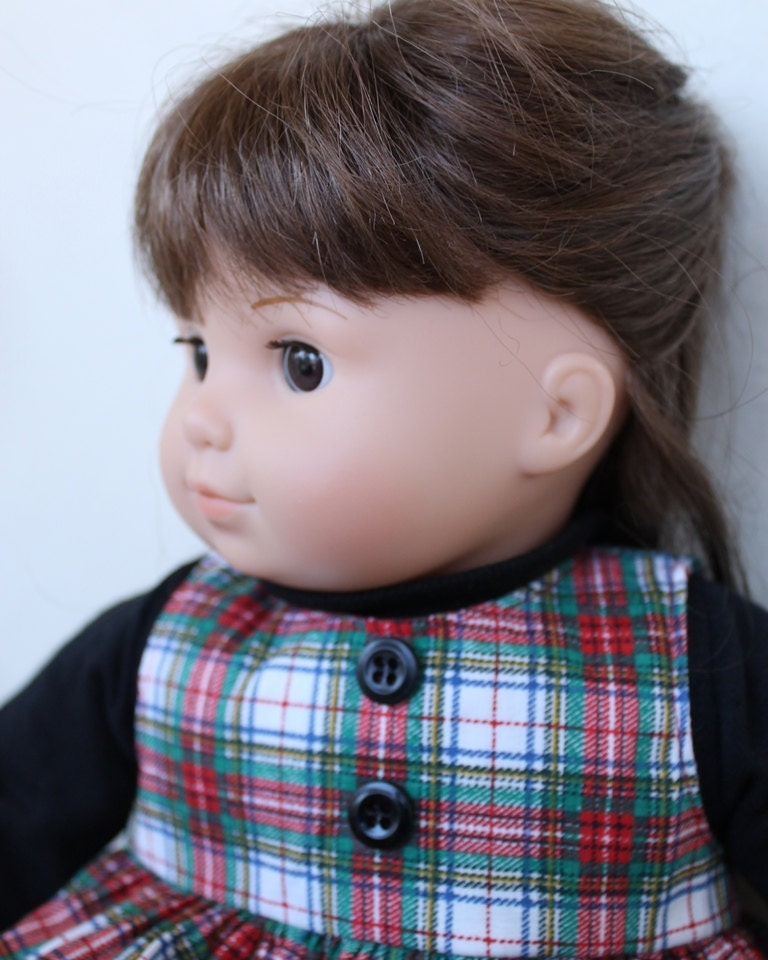 Bitty Twin doll's jumper Christmas winter plaid white red black