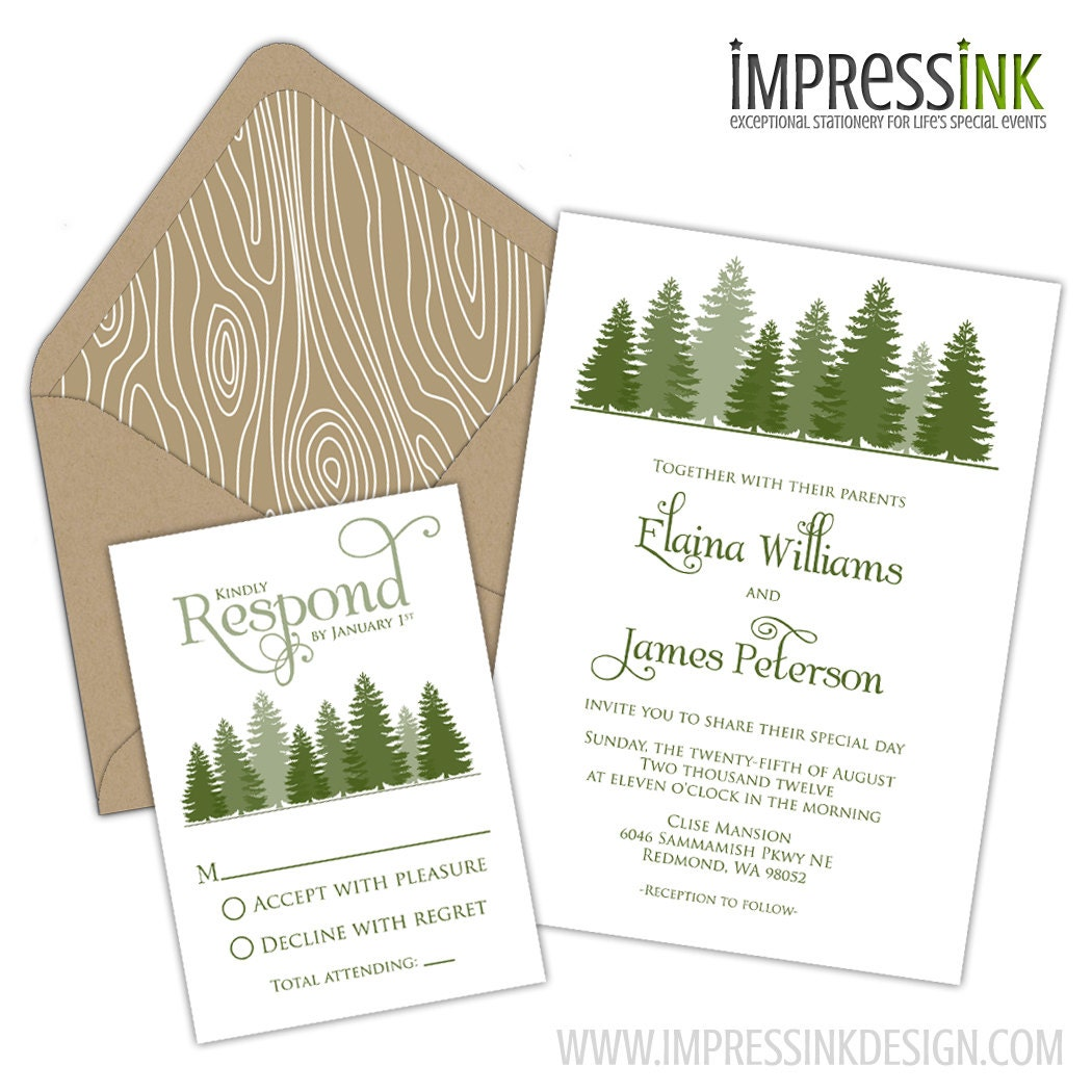 evergreen forest wedding invitation pocket fold or by With etsy forest wedding invitations