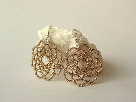Earrings in Champagne Gold, Wedding or Bridesmaid Earrings, Atom-Shaped