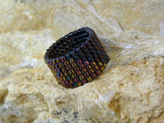 Beaded Ring in Bronzy Purple Rainbow, Happy Rings