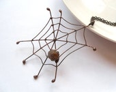 Copper wire pendant dark brown beaded jewelry statement funky Spieder web - ArtemisFantasy