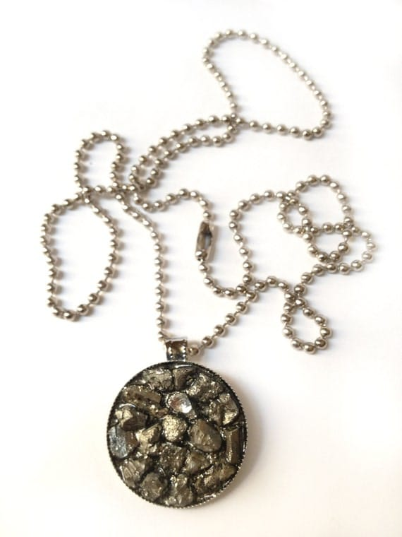 Pyrite Chunk Chain, raw druzy silver pendant ball mica fool's gold