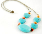 Turquoise hearts and orange beads on antiqued brass chain, handmade necklace - FindingBrooke
