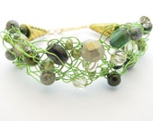 Crochet Wire Beaded Bracelet, Lime Green and Gold - MoonlightShimmer