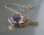 Antique Necklace Edwardian Amethyst Fine Silver 835 Openback Glass Yellow Gold Filled GF - DresdenDollz