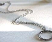 Long oxidized sterling silver necklace with 3 large interlocking oxidized sterling silver rings. - HollyMackDesigns