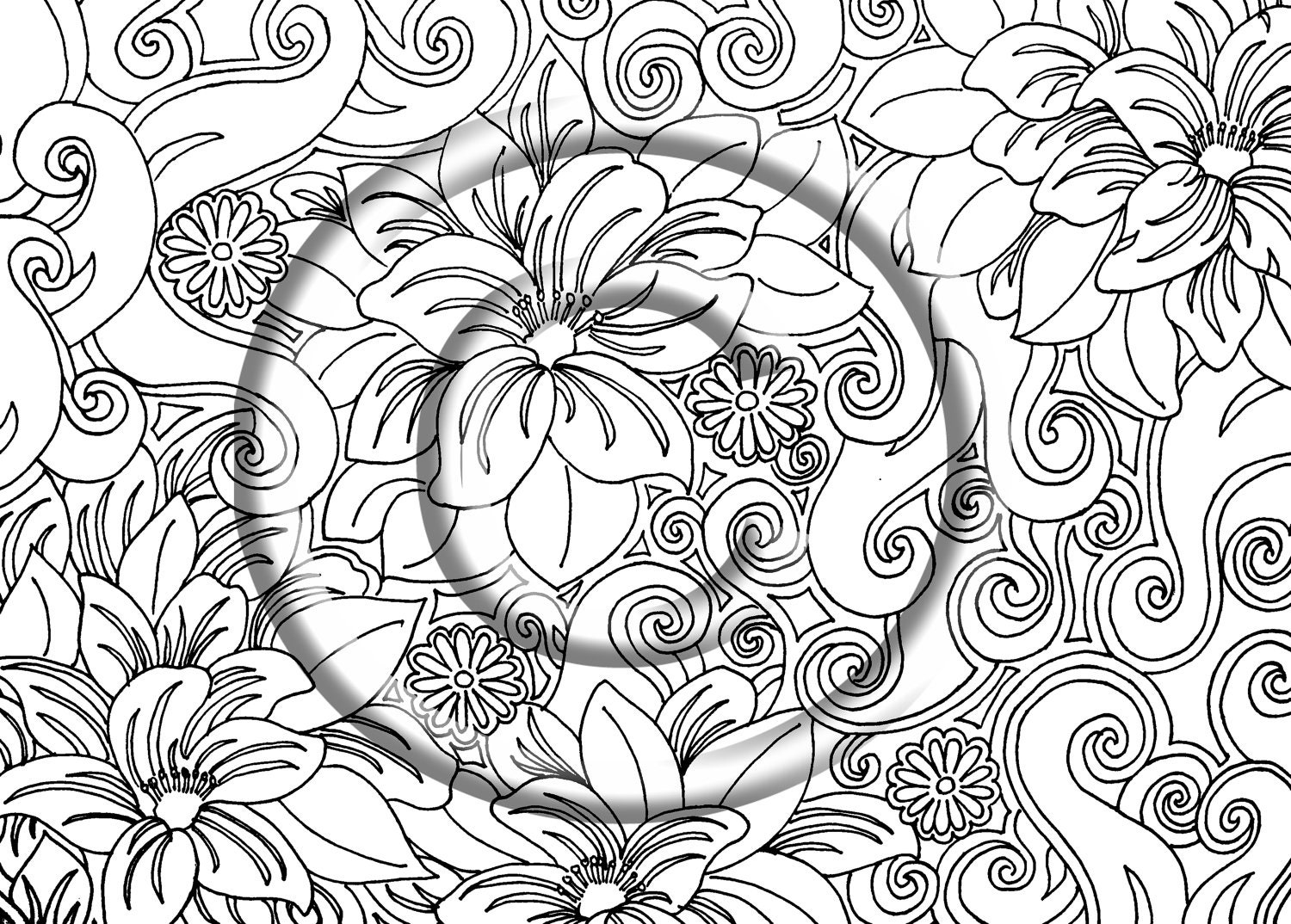 Instant PDF Download Coloring Page Hand Drawn by ...