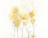 Fields of Love / watercolor print / grey and yellow / gray and yellow / Archival Print - kellybermudez