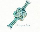 True Lovers Knot / watercolor print / teal  / light green  / aqua / tan / sea / ocean life / Nautical / Archival Print - kellybermudez