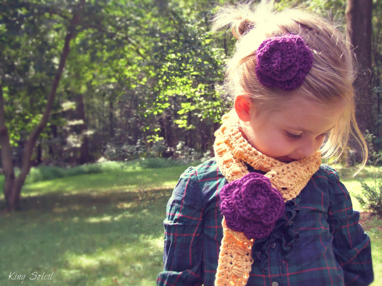 Childrens Crochet Lariat Rose Scarf and Peruvian Wool Rose Hair Clip  Crochet Childrens Scarf