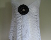 Bridal white crocheted stole openwork lacy, airy, elegant, classic wedding accessory shawl - delectare