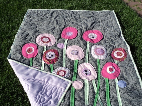 Crib Quilt, Abstract Flower Art Raw Edge Applique Baby Blanket, Infant Photo Prop, Newborn Backdrop, Unique