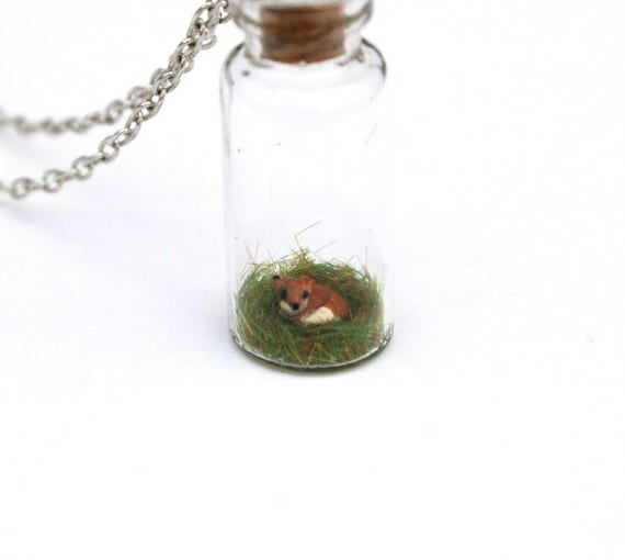 Miniature Fox in Jar Spring Necklace Woodland - a miniature clay fox sat in a tiny glass vial