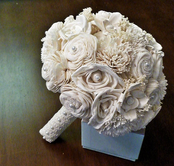 Custom Handmade Alternative Wedding Bouquet- Cream Ivory Lace Keepsake Bridal Bouquet Vintage Shabby Chic Wedding