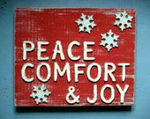 Holiday Sign - Christmas Sign - Winter Sign - Rustic Holiday Decor - Snowflake Decoration - Red and Blue Sign