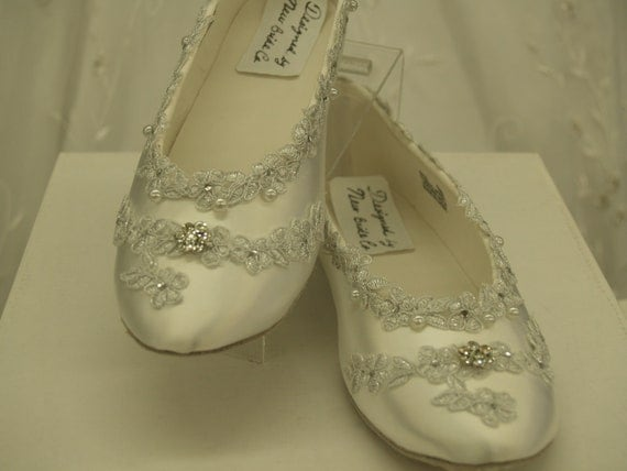 White Wedding Flat Shoes Silver Venice lace edging with crystals