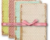 Digital Papers Shabby Chevron Pattern Grunge Paper Download Set 514