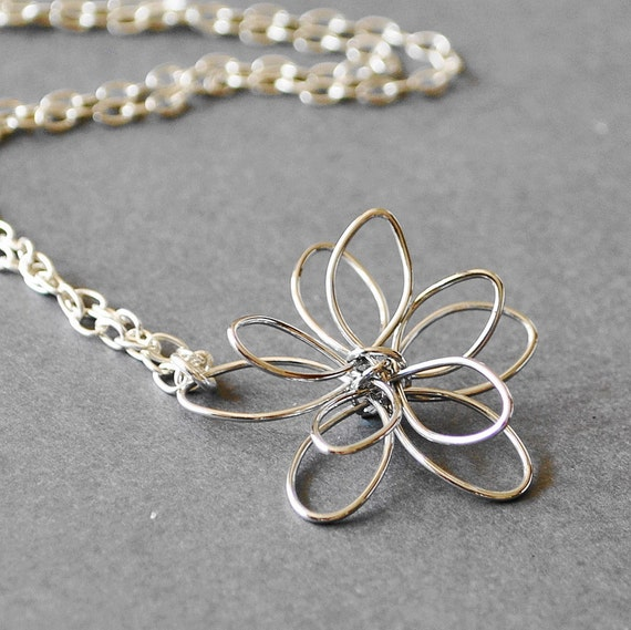 Silver Flower Pendant Necklace,  Sterling Silver Pendant Necklace, Handmade Sterling Silver Jewelry