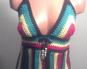 Carribean Queen Hippie Halter Rasta Bikini Top